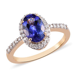 9K Yellow Gold AAA Tanzanite and Diamond Ring 2.00 Ct.