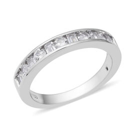 ELANZA Simulated Diamond (Rnd and Bgt) Half Eternity Band Ring in Rhodium Overlay Sterling Silver