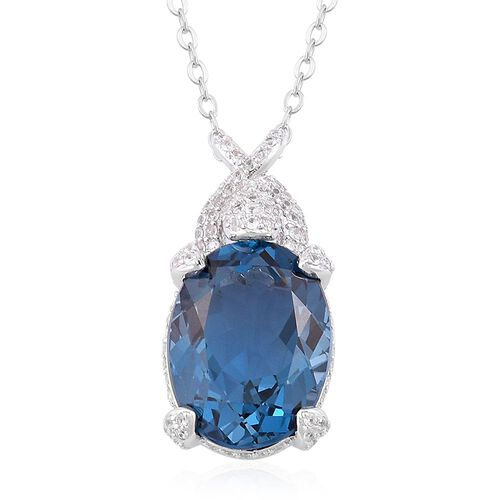 Limited Edition- Very Rare Size London Blue Topaz (Ovl 11.25 Ct), White Zircon Pendant With Chain in Rhodium Plated Sterling Silver 12.250 Ct.