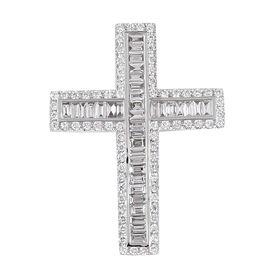 1.01 Carat lLIANA Diamond Cross Pendant in 18K White Gold IGI Certified SI GH