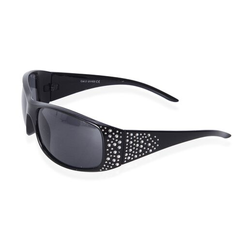 Shiny Black Frame Sunglasses with Bing Crystals and UV Protection Lenses Including Hard Plastic Black Pouch