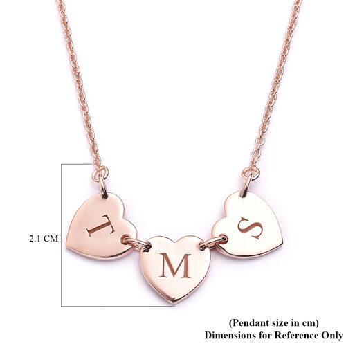 Personalise Initial Multi Heart Disc Necklace with 20Inch Chain