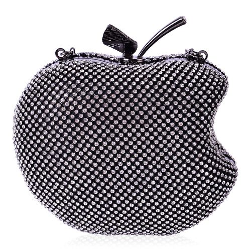 White Austrian Crystal Embellished Black Colour Apple Design Clutch Bag with Removable Chain Strap in Black Tone (Size 14X12 Cm)