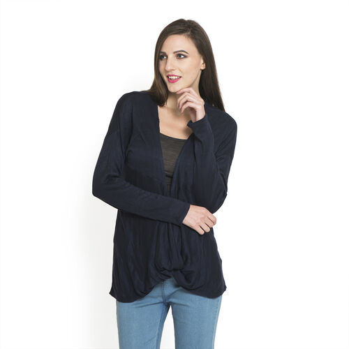 Navy Blue Colour Long Neck Pattern Cardigan (Medium / Large)
