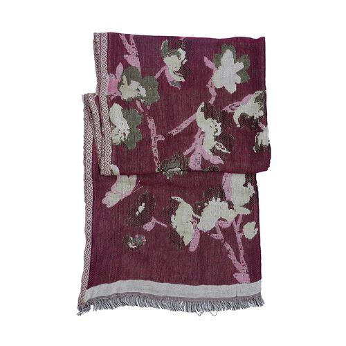 Designer Inspired Winter Special Cherry and Multi Colour Flower Pattern Scarf (Size 170x70 Cm)