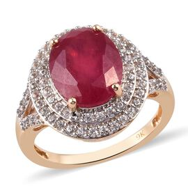 9K Yellow Gold Pink Ruby and Natural Cambodian Zircon Ring 6.50 Ct.