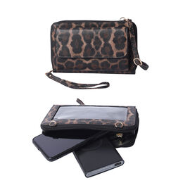 2 Piece Set - Brown Leopard Print RFID Crossbody Bag and 4000mAh Wireless Power Bank