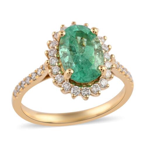 ILIANA 18K Yellow Gold AAA Boyaca Colombian Emerald and Diamond (SI/G-H) Ring 3.25 Ct.