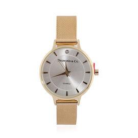 DIAMOND & CO LONDON - Diamond Studded Watch with Mesh Style Strap - Gold Tone
