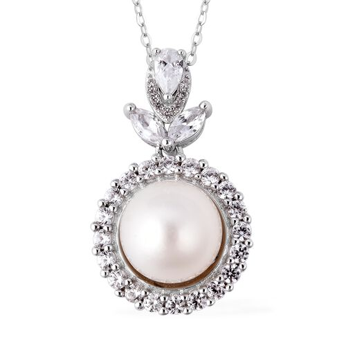 White South Sea Pearl and Zircon Halo Pendant with Chain in Rhodium Plated Silver 18 Inch