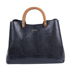 Inyati Inita Wooden Handle Grab Bag (Size 22x26x11.5 Cm) - Black