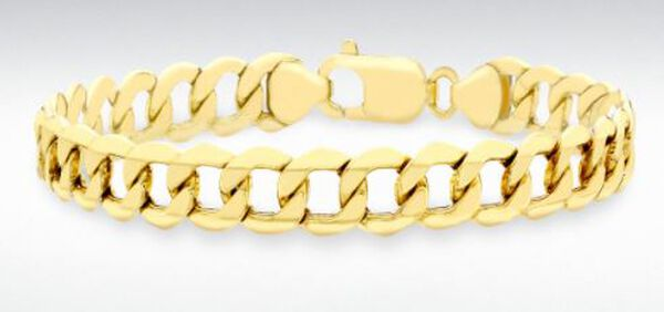 Hatton Garden Close Out Deal- Italian Made 9K Yellow Gold 6-Sided Curb Chain Bracelet (Size 8.5), Go