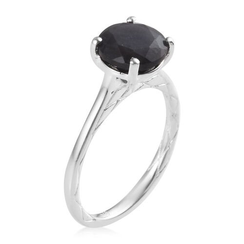 Silver Sapphire (Rnd 8mm) Solitaire Ring in Sterling Silver 2.00 Ct.