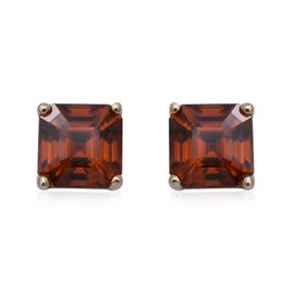 9K Yellow Gold Sunset Zircon (Asscher Cut) Solitaire Stud Earrings 3.43 Ct.