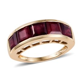 9K Yellow Gold AA African Ruby (Sqr) Half Eternity Ring 5.150 Ct.