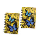 Set of 2 - Glossy Butterfly Cover Spiral Notebook (Size 15x10.5 cm) - 120 Pages