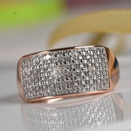 Diamond Cluster Ring in Rose Gold Plated Sterling Silver