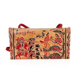 SUKRITI 100% Genuine Leather Madhubani Art Pattern Crossbody Bag (Size 24x13x6 Cm) - Beige and Red