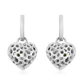 RACHEL GALLEY Angel Heart Collection - Russian Diopside Lattice Heart Charm Hoop Earrings (with Fren