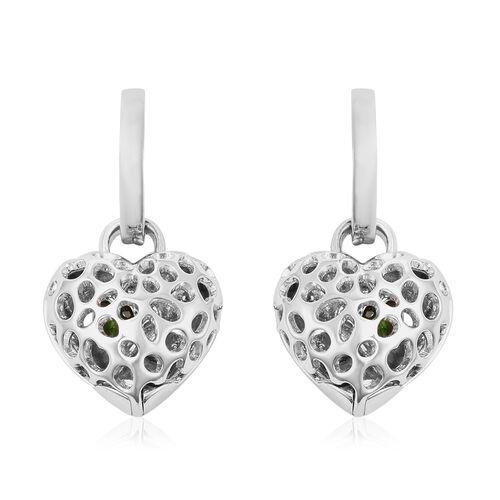 RACHEL GALLEY Angel Heart Collection - Russian Diopside Lattice Heart Charm Hoop Earrings (with Fren