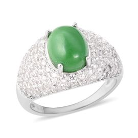5.50 Ct Green Jade and Zircon Cocktail Ring in Rhodium Plated Sterling Silver