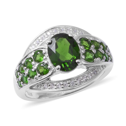 Russian Diopside (Ovl 9x6 mm), Natural Cambodian White Zircon Sterling Silver 3.290 Ct,Silver wt 5.8