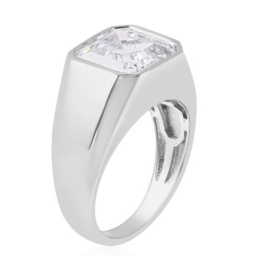 J Francis Rhodium Overlay Sterling Silver Ring Made with Asscher Cut SWAROVSKI ZIRCONIA 8.00 Ct, Silver wt. 7.01 Gms