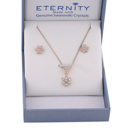 2 Piece Set -  ETERNITY White Swarovski Crystal Necklace (Size 18 with 2 inch Extender) and Earrings (with Push Back)