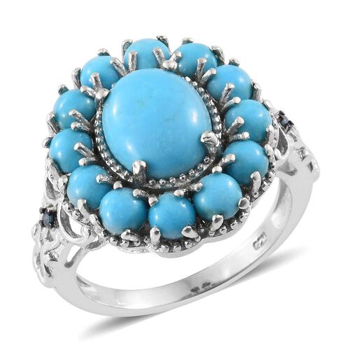 5.75 Ct Sleeping Beauty Turquoise and Blue Diamond Floral Ring in Platinum Plated Silver 6.67 Grams