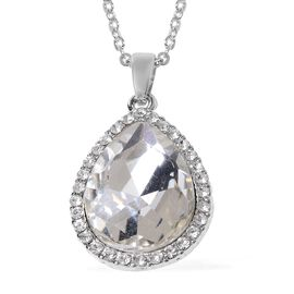Simulated Diamond (Pear 18x13 mm), White Austrian Crystal Pendant With Chain (Size 20 with 2 inch Ex