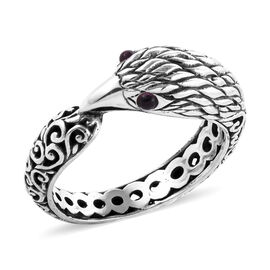 Royal Bali Collection Rhodolite Garnet (Rnd) Garuda Bird Ring in Sterling Silver 0.120 Ct.