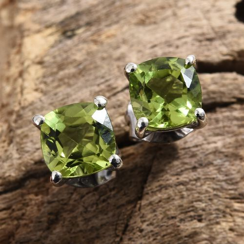 Hebei Peridot (Cush 6x6 mm) Stud Earrings (with Push Back) in Platinum Overlay Sterling Silver 2.000 Ct.