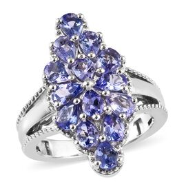 Tanzanite (Pear) Cluster Ring (Size Q) in Platinum Overlay Sterling Silver 2.00 Ct, Silver wt 5.30 Gms
