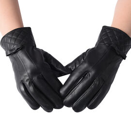 100% Genuine Leather Quilted Pattern Gloves with Bowknot - Solid Black