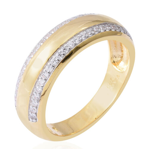 ELANZA Simulated Diamond (Rnd) Ring in Rhodium and Yellow Gold Overlay Sterling Silver