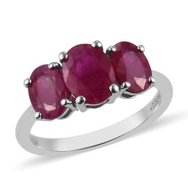RHAPSODY 950 Platinum AAAA Burmese Ruby 3-Stone Ring 3.75 Ct, Platinum wt. 4.26 Gms
