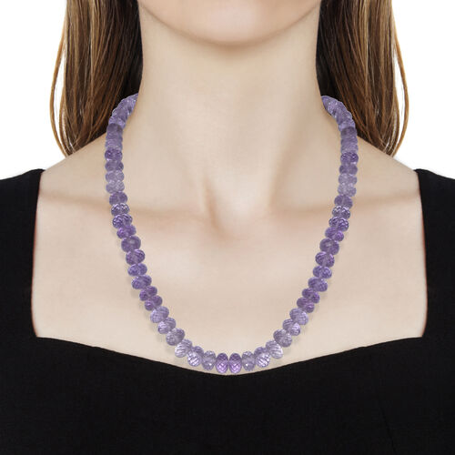 Very Rare Rose De France Amethyst (Rnd) Beads Necklace (Size 18) with Magnetic Lock in Rhodium Plated Sterling Silver 200.000 Ct.