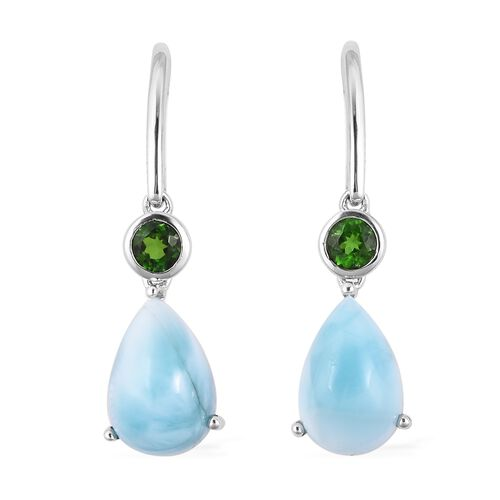 8.36 Ct Larimar and Russian Diopside Drop Earrings in Rhodium Plated Sterling Silver With Hook