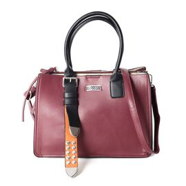 Limited Collection Burgundy Colour Tote Bag with Removable Shoulder Strap (Size 33.5x23.5x17x14.5 Cm