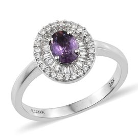 ILIANA 1.25 Ct UnHeated Natural Purple Sapphire and Diamond Halo Ring in 18K White Gold