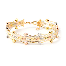 9K Yellow, Rose and White Gold Bangle (Size 7 and 1 inch Extender), Gold wt 8.37 Gms.