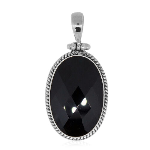 Royal Bali Collection Boi Ploi Black Spinel (Ovl) Pendant in Sterling Silver 56.090 Ct. Sterling Silver 9.00 Grams