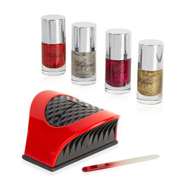 Majique: Nail Buddy Set (Incl. Nail Buddy, Crystal Nail File & 4 Glitter Varnishes) - Red