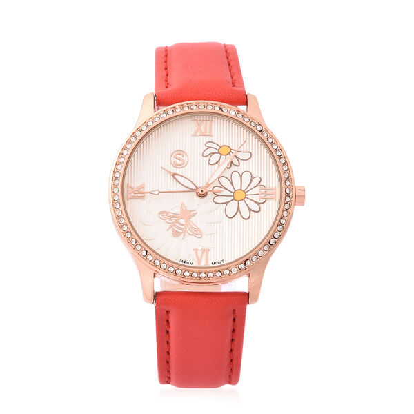 STRADA Japanese Movement White Austrian Crystal Studded Flower Bee Dial Water Resistant Watch with R