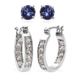 2 Pair Set - J Francis Crystal from Swarovski White Colour Crystal (Rnd), Swarovski Tanzanite Colour