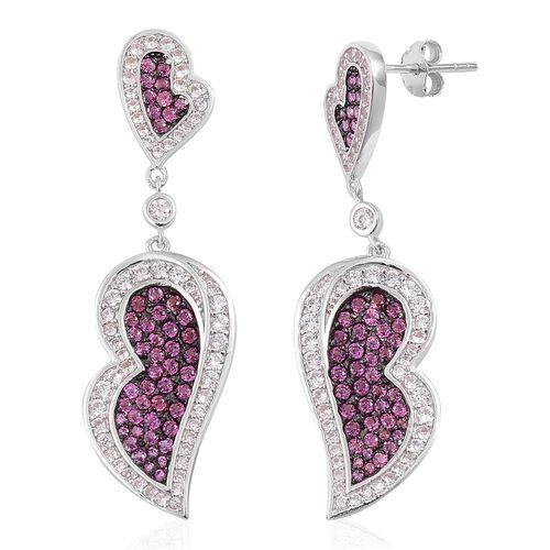 Designer Inspired-Rhodolite Garnet and Natural White Cambodian Zircon Dangling Heart Earrings (with