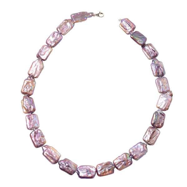 Extremely Rare AAA Natural Lavender Colour Keshi Pearl Beaded Necklace in 9K Gold 20 Inch