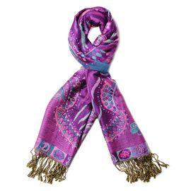 Purple Colour Paisley Pattern Tassel Scarf (Size 70x180+9 Cm)