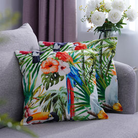 Set of 2 - Birds & Leaves Pattern Cushion Cover with Zipper Closure (Size 43x43cm) - White, Orange &