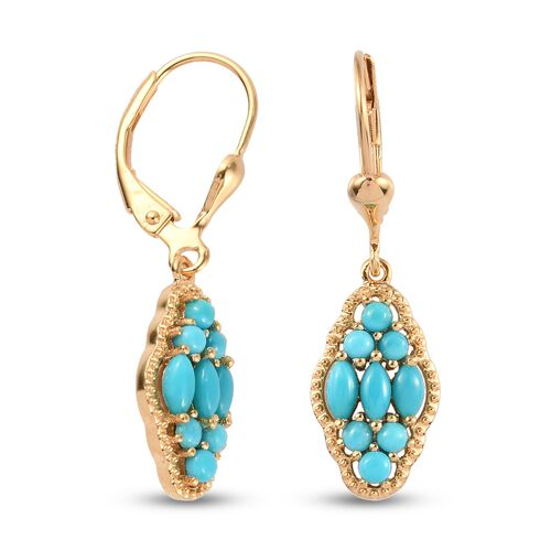 Arizona Sleeping Beauty Turquoise Dangling Lever Back Earrings in 14K Gold Overlay Sterling Silver 1.25 Ct.